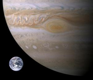 Earth vs. Jupiter size
